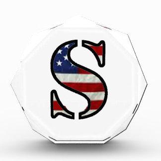 """US Flag """"S"""" Acrylic Award"""