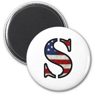 """US Flag """"S"""" Fridge Magnet"""