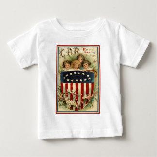 US Flag Shield Children Flower Baby T-Shirt
