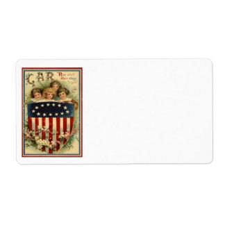 US Flag Shield Children Flower Label