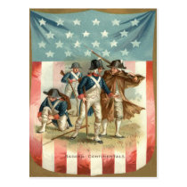 US Flag Shield Continental Army Postcard