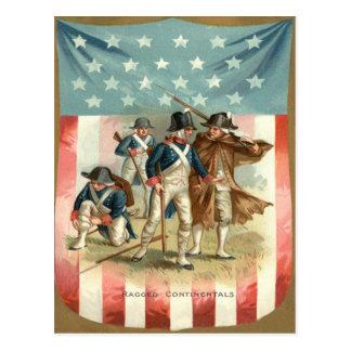 US Flag Shield Continental Army Postcard