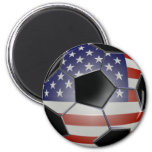 US Flag Soccer Ball 2 Inch Round Magnet
