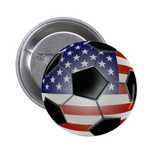 US Flag Soccer Ball Pinback Button