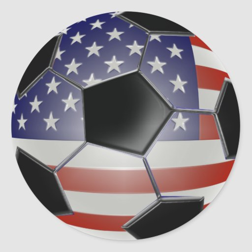 US Flag Soccer Ball Classic Round Sticker