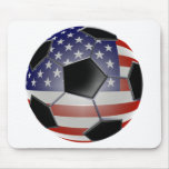 US Flag Soccer Ball Mouse Pad