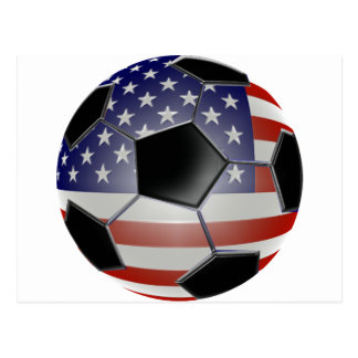 US Flag Soccer Ball Post Card