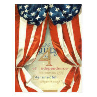 US Flag Stars & Stripes 4th of July Post Card