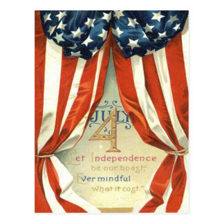 US Flag Stars & Stripes 4th of July Postcard