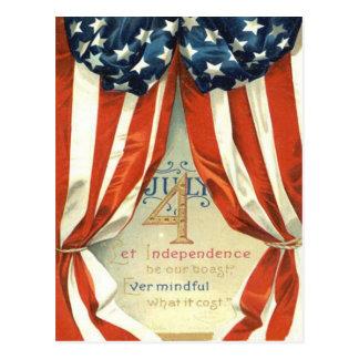 US Flag Stars & Stripes 4th of July Postcard