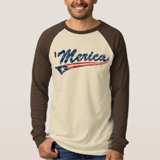 US Flag Style Swoosh 'Merica (Distressed) Shirt