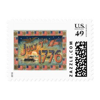 US Flag Sunrise Bald Eagle Ship Postage Stamps