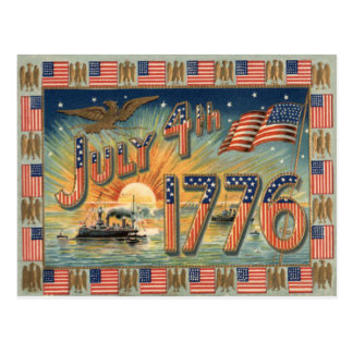 US Flag Sunrise Bald Eagle Ship Postcard