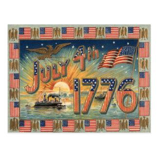 US Flag Sunrise Bald Eagle Ship Postcard