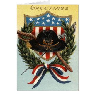 US Flag Sword Shield Wreath Card