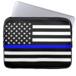 US Flag Thin Blue Line Graphic Laptop Sleeve