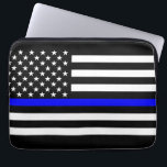 "US Flag Thin Blue Line Graphic Laptop Sleeve<br><div class=""desc"">A Thin Blue Line symbolic US flag design on a device gift. A great gift idea for gatherings, memorial celebrations and remembrance occasions. Here&#39;s a fine line up of custom blue line design style available as an embroidery on embroidered casual baseball caps for everyone. Use the &quot;Ask this Designer&quot; link...</div>"