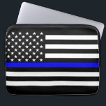 """US Flag Thin Blue Line Graphic Laptop Sleeve<br><div class=""""desc"""">A Thin Blue Line symbolic US flag design on a device gift. A great gift idea for gatherings, memorial celebrations and remembrance occasions. Here&#39;s a fine line up of custom blue line design style available as an embroidery on embroidered casual baseball caps for everyone. Use the &quot;Ask this Designer&quot; link...</div>"""
