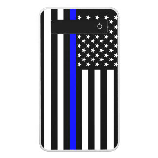 US Flag Thin Blue Line Symbolic on a Power Bank