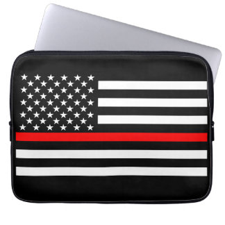 US Flag Thin Red Line Graphic Laptop Sleeve