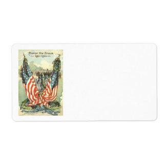 US Flag Tombstone Civil War Parade Label