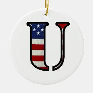 """US Flag """"U"""" Ceramic Ornament"""
