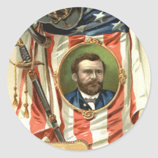 US Flag Ulysses S Grant Sword Cavalry Classic Round Sticker
