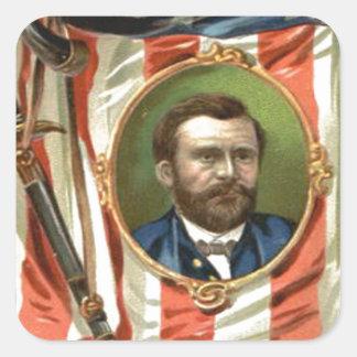 US Flag Ulysses S Grant Sword Cavalry Square Sticker