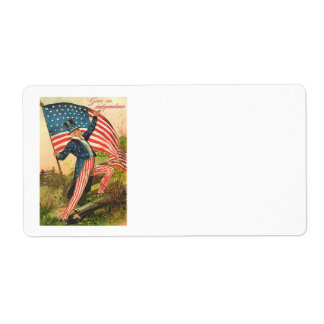 US Flag Uncle Sam Battlefield Cannon Custom Shipping Labels