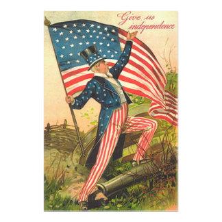 US Flag Uncle Sam Battlefield Cannon Photo Print