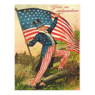 US Flag Uncle Sam Battlefield Cannon Postcard
