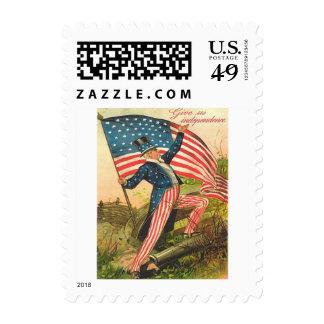 US Flag Uncle Sam Battlefield Cannon Stamp