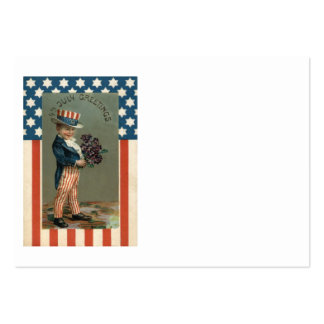US Flag Uncle Sam Boy Violets Large Business Card