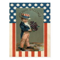 US Flag Uncle Sam Boy Violets Postcard