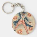 US Flag Uncle Sam Fireworks Firecracker Basic Round Button Keychain