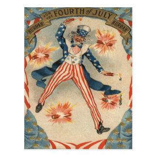 US Flag Uncle Sam Fireworks Firecracker Postcard