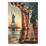 US Flag Uncle Sam Statue of Liberty Greeting Card