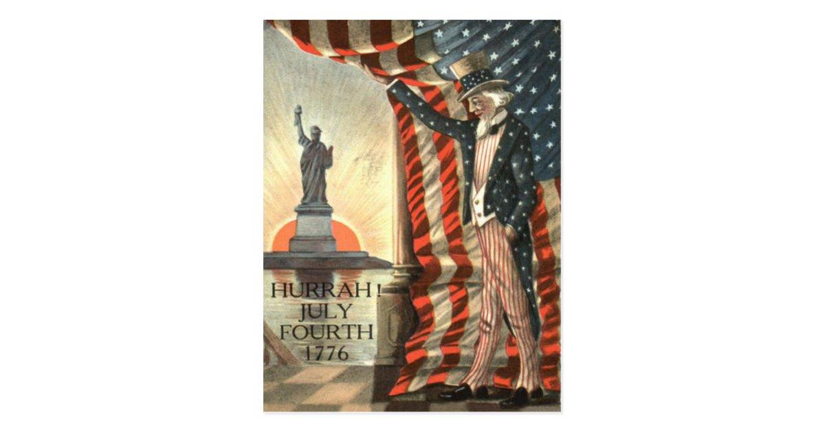 Us Flag Uncle Sam Statue Of Liberty Postcard Zazzle Com