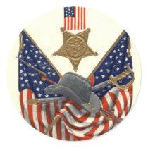 US Flag Union Civil War Medal Eagle Classic Round Sticker