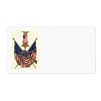 US Flag Union Civil War Medal Eagle Label
