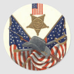 US Flag Union Civil War Medal Eagle Classic Round Sticker