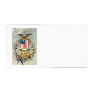 US Flag Union Civil War Medal Eagle Wreath Label