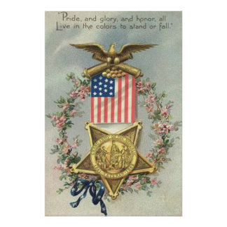 US Flag Union Civil War Medal Eagle Wreath Poster