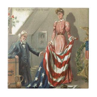 US Flag Union Civil War Medal Eagle Wreath Small Square Tile