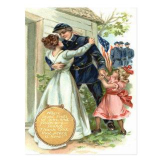 US Flag Union Civil War Soldier Home Postcard