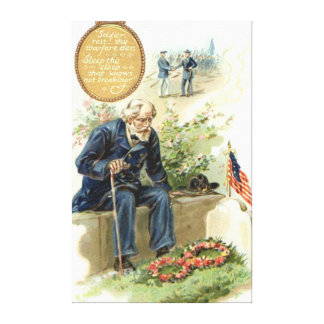 US Flag Union Soldier Cemetery Tombstone Canvas Print