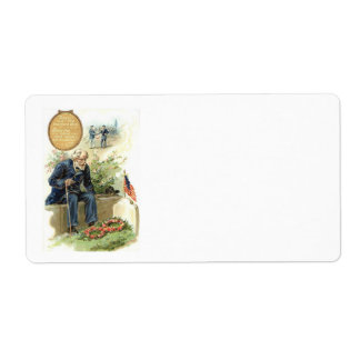 US Flag Union Soldier Cemetery Tombstone Label