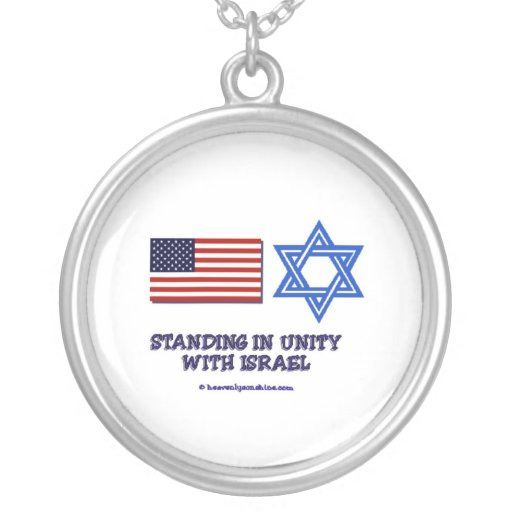 US Flag Unity with Israel Round Pendant Necklace