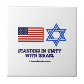 US Flag Unity with Israel Small Square Tile
