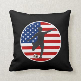 US Flag USA Women's Soccer Pillow
